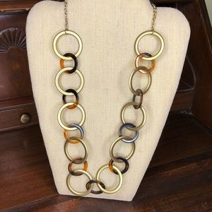 Jewelry - Tortoise Shell and Brushed Gold circle necklace